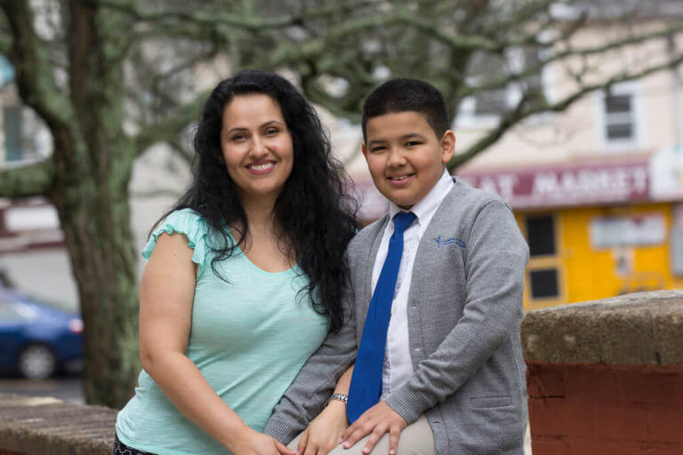 Diana with her son Santiago, a student at AF Providence Elementary