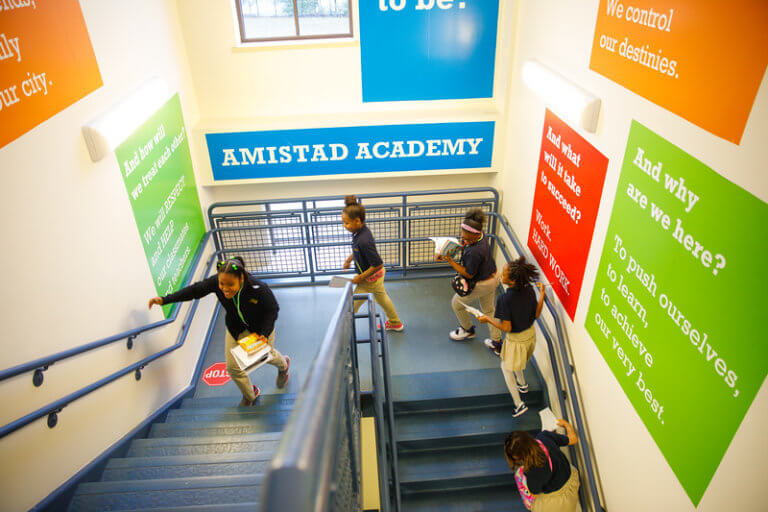 A hallway at Amistad Academy Middle