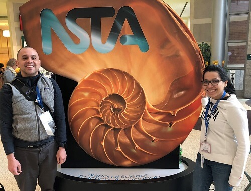 Ashlyn, right, with teammate Mike Diaz at a recent science conference