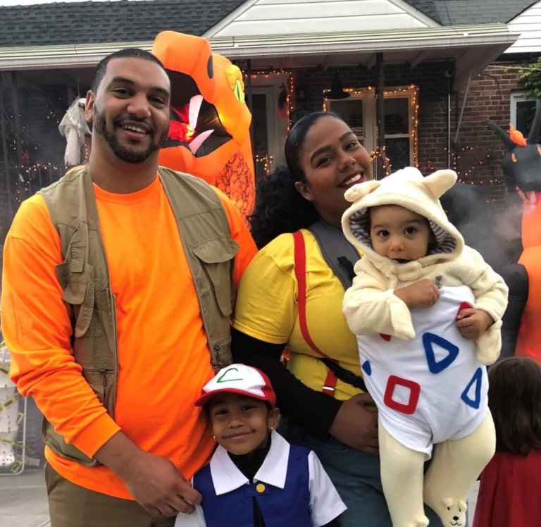 Melissa with her family in costumes